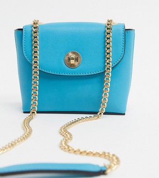 Accessorize mini crossbody bag with chain strap in bright blue