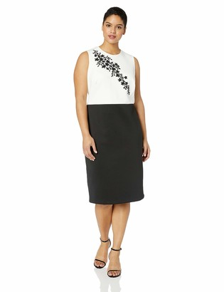 Calvin Klein Women's Plus Size Sleeveless Embellished Color Block Sheath Dress
