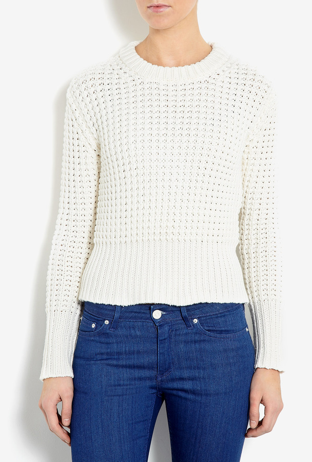 Acne White Lia Solid Waffle Knit Jumper