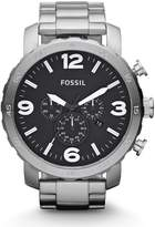 Fossil Men's Nate Quartz Stainless Steel and Leather Chronograph Watch Color: Black (Model: JR1354)