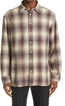 Raf Simons Oversize Plaid Flannel Button-Up Shirt