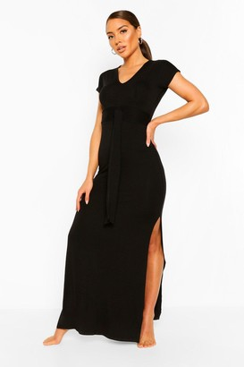 boohoo Jersey Knot Front Maxi Beach Dress