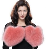 URSFUR Women's Winter Genuine Fox Fur Mittens Lady's Warm Golves