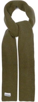 Ganni Ribbed Wool-blend Scarf - Green