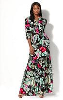 New York & Co. Maxi Shirt Dress - Tropical Print