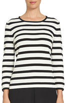 CeCe Striped Bow Sleeve Pullover