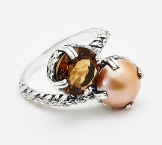 Stephen Dweck Sterling Silver Cognac Quartz & Cultured Pearl Bypass Ring