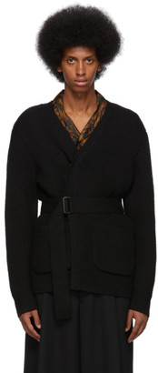 Dries Van Noten Black Ribbed Wool Cardigan