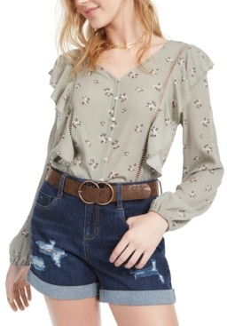Planet Gold Juniors' Floral Ruffle Top