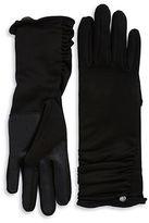 Lauren Ralph Lauren Leather Trimmed Ruched Touch Gloves