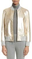 St. John Women's Metallic Leather & Knit Bomber Jacket