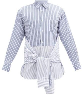 Comme des Garçons Shirt Deconstructed Striped Cotton Shirt - Light Blue