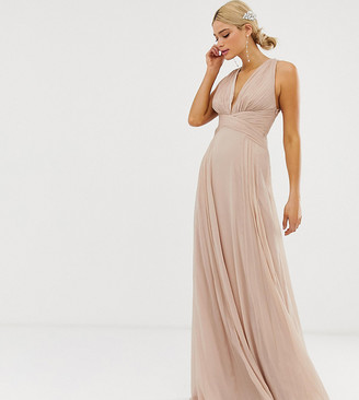 Asos Tall DESIGN Tall Bridesmaid ruched bodice drape maxi dress with wrap waist-Pink