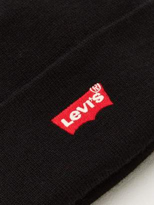 Levi's Red Batwing Embroidered Slouchy Beanie Hat - Black