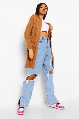 boohoo Cable Knit Hooded Midi Cardigan