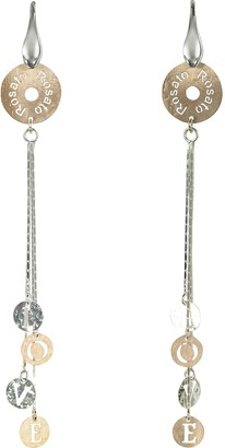 Rosato Rose Gold Plated Sterling Silver Love Charm Long Earrings