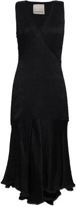 Jason Wu Draped Crinkled Satin Midi Dress