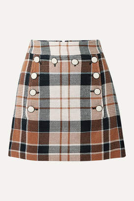 Veronica Beard Ording Button-detailed Checked Cotton And Flax-blend Mini Skirt - Camel