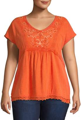 Style&Co. Style & Co. Plus Embroidered Short Sleeve Top