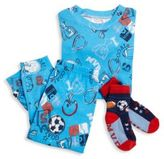 Books To Bed Toddler's & Little Boy's Three-Piece Snuggle Moon Sports Pajamas & Socks Set