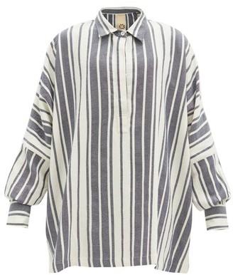 Marrakshi Life - Striped Cotton-blend Coverup - Navy Stripe