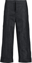 Marni Cotton-blend chambray wide-leg pants