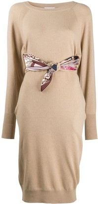 Salvatore Ferragamo Cashmere Scarf Print Dress