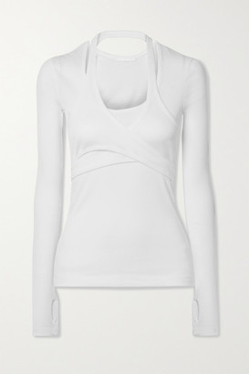 Helmut Lang Layered Wrap-effect Ribbed Cotton-jersey Top - White