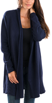Blue Cable-Knit Back Open Cashmere-Blend Cardigan