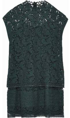 ADAM by Adam Lippes Pleated Cotton-blend Corded Lace Mini Dress