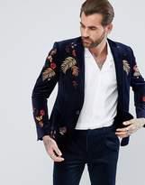Asos Skinny Blazer In Navy Velvet With Embroidery