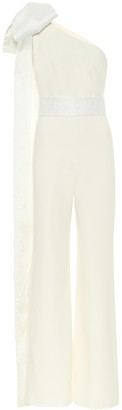 Safiyaa Darlene one-shoulder crApe bridal jumpsuit