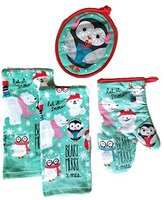 Holiday Time Christmas Owl Kitchen Towels Set of 4 Bundle Includes 2 Dish Towels, an Oven Mitt and Pot Holder
