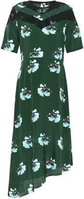 Maje Asymmetric Lace-trimmed Floral-print Crepe De Chine Dress