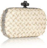 Bottega Veneta The Knot watersnake-trimmed intrecciato leather clutch