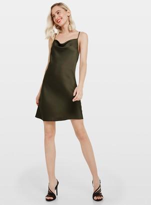 Miss Selfridge Khaki Cowl Neck Slip Dress