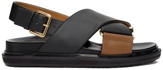 Marni Black and Tan Fussbett Sandals