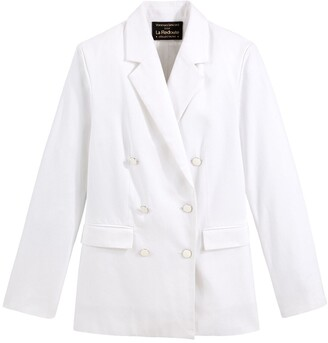 Vanessa Seward X La Redoute Collections Straight Cut Double-Breasted Blazer in Cotton