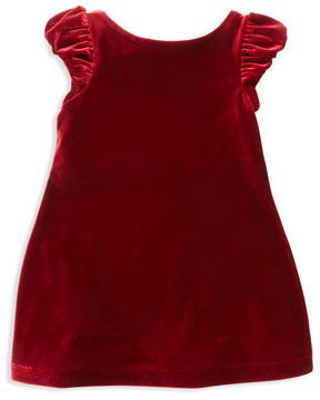 Ralph Lauren Velvet Puffed-Sleeve Dress, Red, Sizes 2T-3T