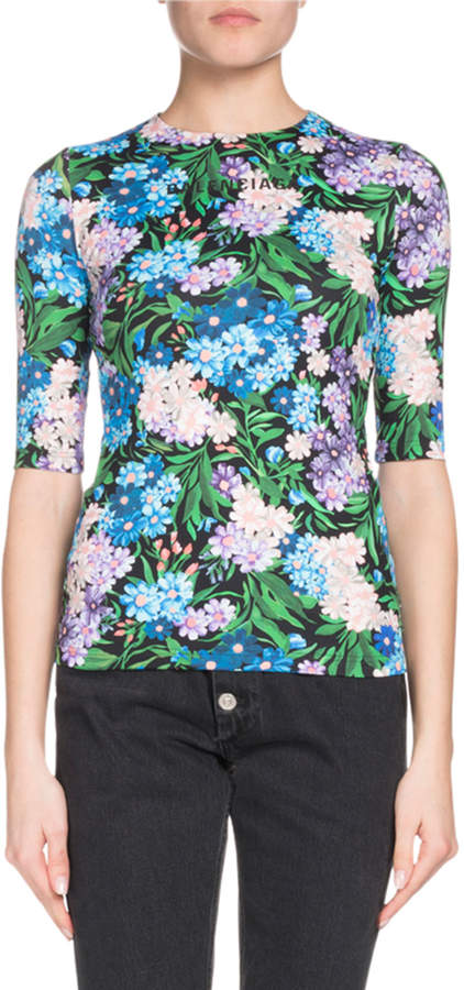 Balenciaga Elbow-Sleeve Floral-Print Jersey-Stretch Top