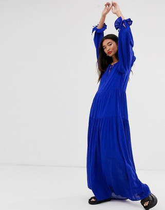 Selected tiered maxi dress with neck tie detail-Blue