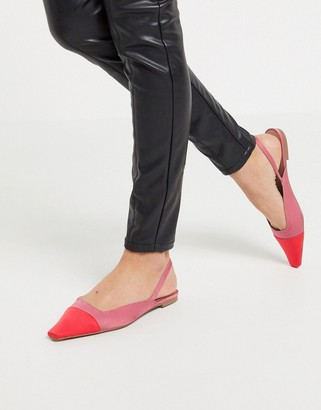 ASOS DESIGN Language slingback ballet flats in pink and red