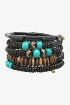 Brown & Turquoise Beaded Slinky Bracelet