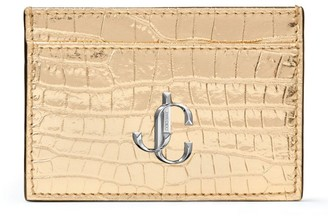 Jimmy Choo Umika Metallic Croc-Embossed Card Holder