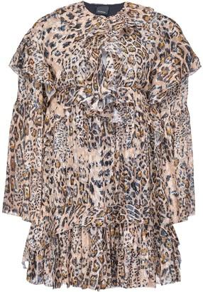 Pinko Leopard Print Ruffled Dress