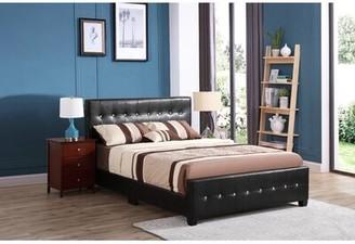 Max Upholstered Standard Bed Glory Furniture Size: Full, Color: Black