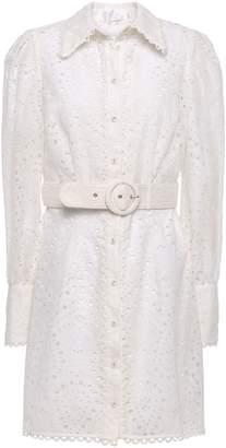 Zimmermann Broderie Anglaise Cotton Mini Shirt Dress