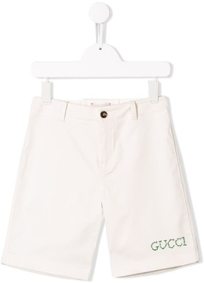 Gucci Kids Twill Embroidered Shorts