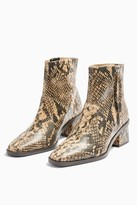 Topshop MARGOT Leather Snake Mid Boots