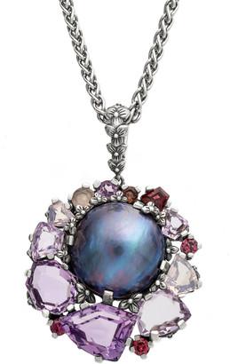Stephen Dweck Natural Peacock Pearl Multi-Gemstone Pendant Necklace